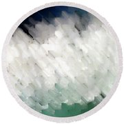 Round Beach Towel featuring the painting Romans 14 13. Stumbling Block Or A Stepping Stone by Mark Lawrence