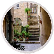 Round Beach Towel featuring the photograph The Cobblestone Streets Of Sorrento Italy by Robert Bellomy
