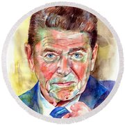 Ronald Reagan Portrait Round Beach Towel