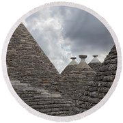 Roofs Of Trulli In Alberobello, Italy Round Beach Towel