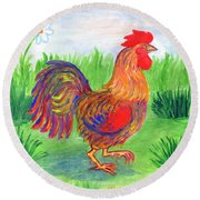Rooster And Little Chicken Round Beach Towel