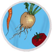 Root Vegetables Round Beach Towel