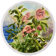 Rosa By The Sea Round Beach Towel