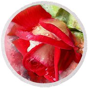 Rose And Water Drops Round Beach Towel