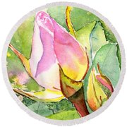 Round Beach Towel featuring the painting Rose Buds In The Garden by Carlin Blahnik CarlinArtWatercolor