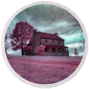 Rose Farm In Infrared Round Beach Towel
