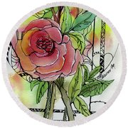 Rose Is Rose Round Beach Towel