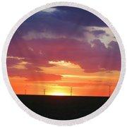 Round Barn Sunset Round Beach Towel