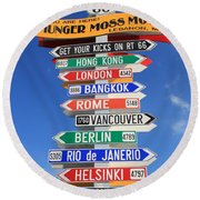 Route 66 - Crossroads Of The World Round Beach Towel