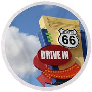 Route 66 Drive-in Sign Round Beach Towel