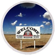 Route 66 - Midpoint Sign 2010 Bw Round Beach Towel