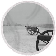 Row Of Cannon Round Beach Towel