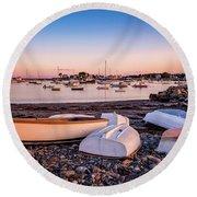 Rowboats At Rye Harbor, Sunset Round Beach Towel