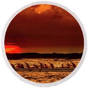 Rowing In The Sunset Round Beach Towel