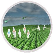 Rows Of Green March 2019 Round Beach Towel