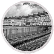 Royal Crescent In Bath Uk Round Beach Towel