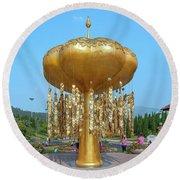 Round Beach Towel featuring the photograph Royal Park Rajapruek Golden Sculpture Dthcm2579 by Gerry Gantt