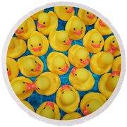 Rubber Duck Meet And Greet Round Beach Towel