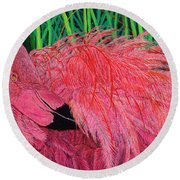 Ruffled Flamingo Round Beach Towel