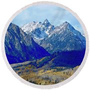Round Beach Towel featuring the photograph Rugged Peaks by Dan Miller