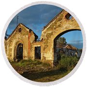 Ruins Of The Abandoned Mine Of Sao Domingos. Portugal Round Beach Towel