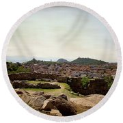 Ruins On The Top Of The Hill Round Beach Towel