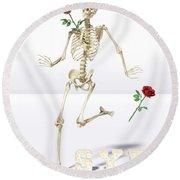 Running Rose Skeleton Round Beach Towel