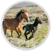 Running Wild Mustangs - Mom And Baby Round Beach Towel