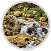 Round Beach Towel featuring the photograph Runoff by Jon Burch Photography