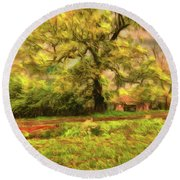 Round Beach Towel featuring the photograph Rural Rustic by Leigh Kemp