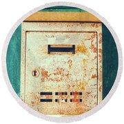Rusted Mailbox Round Beach Towel