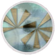 Rusted Triangles On Blue Grey Backdrop Round Beach Towel