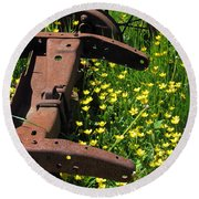 Rusted Wagon In A Field Of Flowers Round Beach Towel
