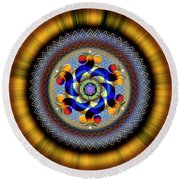 Sacred Geometry 740 Number 1 Round Beach Towel