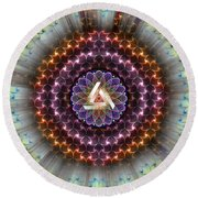 Sacred Geometry 742 Round Beach Towel