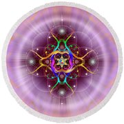 Sacred Geometry 757 Round Beach Towel