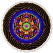 Sacred Geometry 763 Round Beach Towel