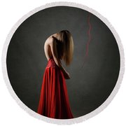 Sad Woman In Red Round Beach Towel