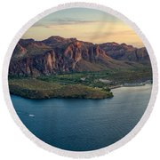 Saguaro Lake Mountain Sunset Round Beach Towel