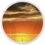 Sailboat In Front Of A Hawaiian Sunset Round Beach Towel