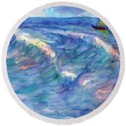 Sailboat In The Sea Round Beach Towel