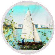 Sailboat On The River Watercolor Round Beach Towel