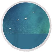 Sailing On The Blue Round Beach Towel
