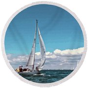 Sailing Regatta On A Brisk Summer's Day Round Beach Towel