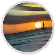 Sailing To The Sunset Round Beach Towel