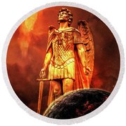 Round Beach Towel featuring the photograph Saint Michael by Michael Arend