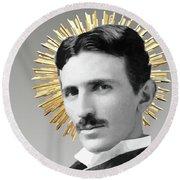 Saint Nikola Tesla Round Beach Towel