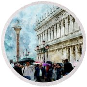 Saint Theodore Sculpture At Saint Mark Square In Venice, Italy - Watercolor Effect Round Beach Towel