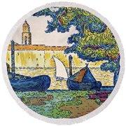 Saint-tropez, The Port Of St. Tropez - Digital Remastered Edition Round Beach Towel