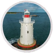 Round Beach Towel featuring the photograph Sakonnet Light  by Michael Hughes